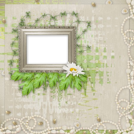 Grunge frame with beautiful necklace,  beads and flowers Stock Photo - 7679404