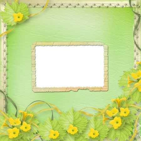 courgette: Grunge paper frames with flowers pumpkins and ribbons Stock Photo