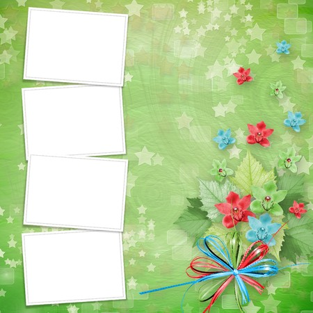 card for invitation or congratulation with frames and bunch of orchids photo
