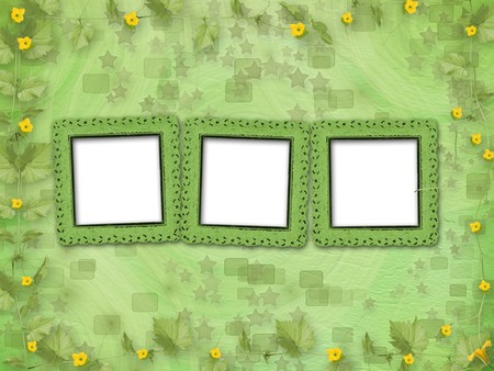 courgette: Grunge paper frames with flowers pumpkins on the abstract stars background