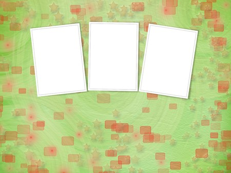 green backdrop with frames for greetings or invitations with stars photo