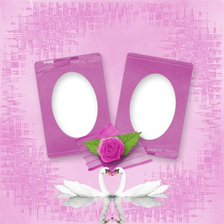 the album announcement: Greeting Card to wedding with frames on the pink background