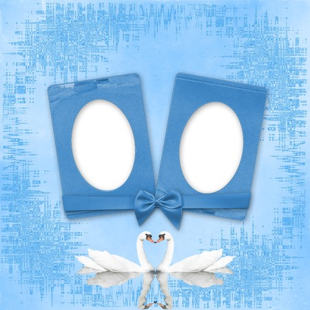 Greeting Card to wedding with frames on the blue background photo