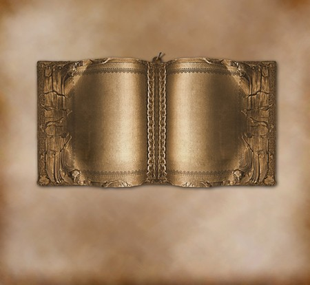 soldered: Old ancient book with gold pages on the abstract background Stock Photo