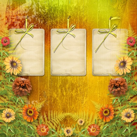 multicoloured card for greetings or invitations with bunch of flowers photo