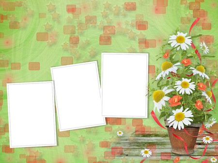 Grunge frames with beautiful bunch of daisy and poppy for design photo
