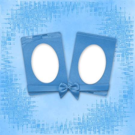 Greeting Card to holiday with frames on the blue background photo
