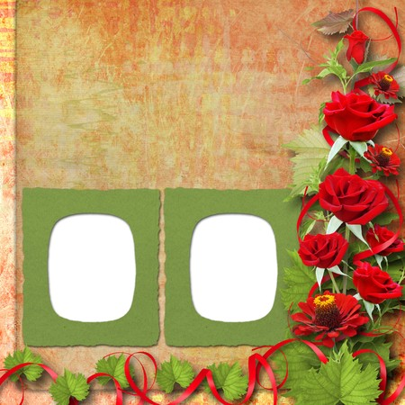 Card for congratulation or invitation with red roses Stock Photo - 7913362