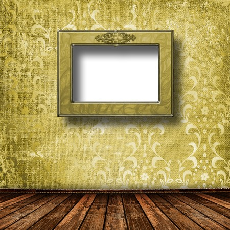 Old grunge room with wooden picture frames in Victorian style Stock Photo - 7958018
