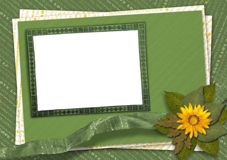 Bunch of flowers on the abstract background with rag  photo