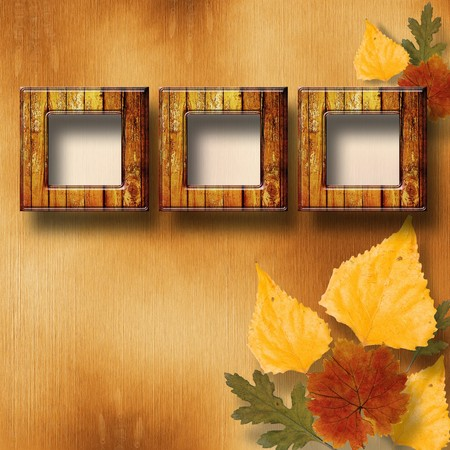 maple wood texture: Grunge papers design in scrapbooking style with frame and autumn foliage