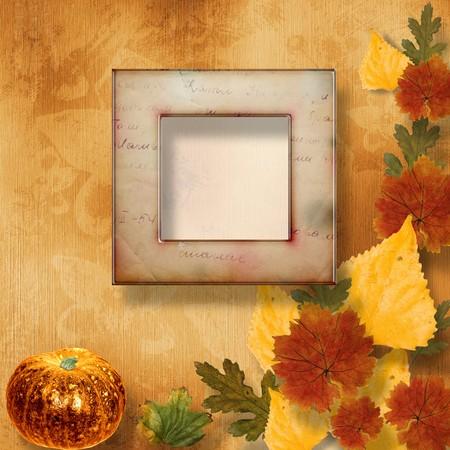 cucurbit: Grunge papers design in scrapbooking style with pumpkin