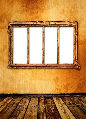 windows frame: Old window on the antique wall with metal nail