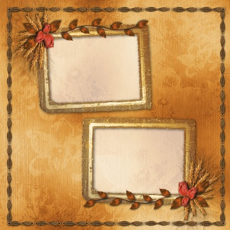 rosy: Grunge paper in scrapbooking style with bunch of rose