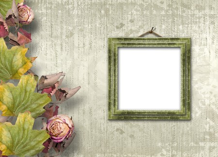 Grunge papers design in scrapbooking style with frame and foliage photo