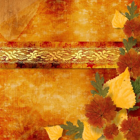 Grunge papers design in scrapbooking style with frame and autumn foliage photo