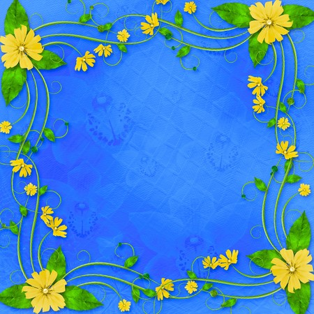 Congratulations to the holiday with frame and yellow flowers photo