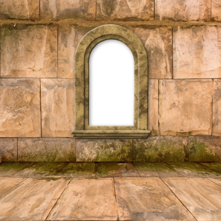 The old stone room with window in Victorian style Stock Photo