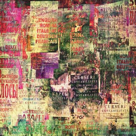 Grunge abstract background with old torn posters Stock Photo