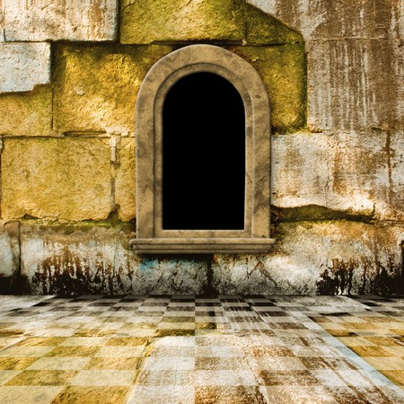 casement: The old stone room with window in Victorian style Stock Photo