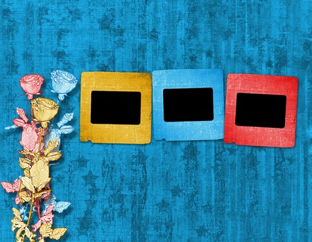 Old slides on the abstract paper background Stock Photo - 8156148