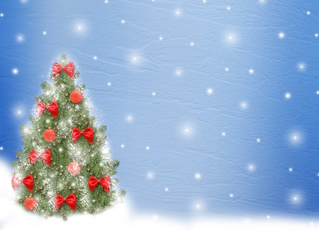 Card for congratulation. Christmas tree with balls and bows photo