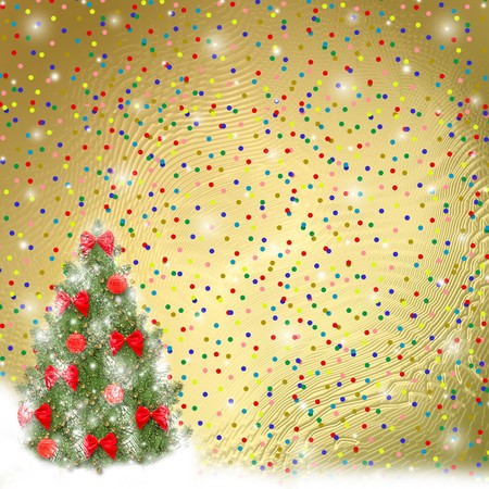 slush: Card for congratulation. Christmas tree with balls and bows Stock Photo