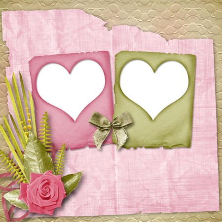 wedlock: Card for congratulation or invitation with pink roses Stock Photo