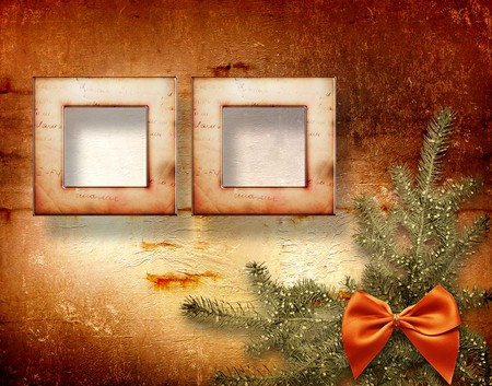 Festive invitation or greeting with firtree and bow Stock Photo - 8217051