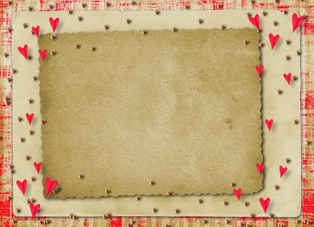 Card for congratulation or invitation with red hearts photo