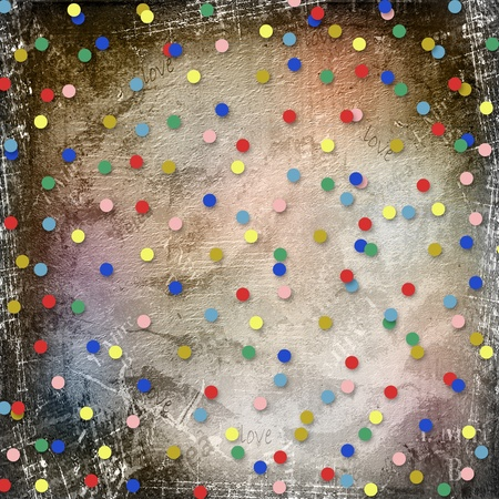 ornamente: abstract scratch paper background with multicolored confetti