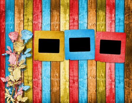 Old slides on the abstract wooden background Stock Photo - 8305854