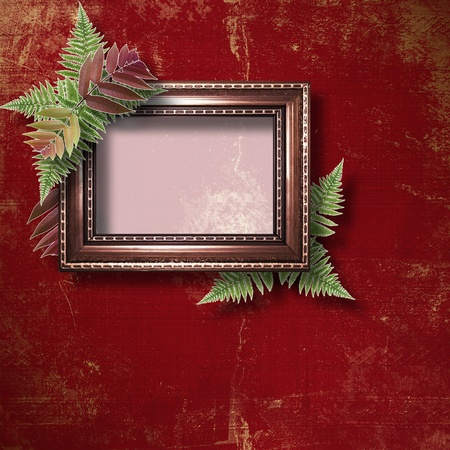 Abstract star background with wooden frame and bunch of fern photo