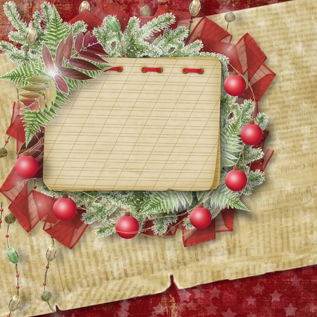 trumpery: Abstract star background with notebook and bunch of twigs Christmas trees Stock Photo