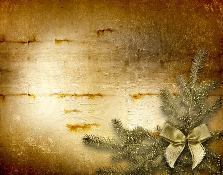 trumpery: Festive invitation or greeting with firtree and bow Stock Photo