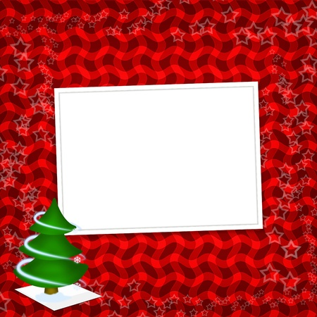 Card for congratulation with Christmas tree and stars photo