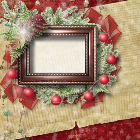 the album announcement: Abstract star background with wooden frame and bunch of twigs Christmas trees