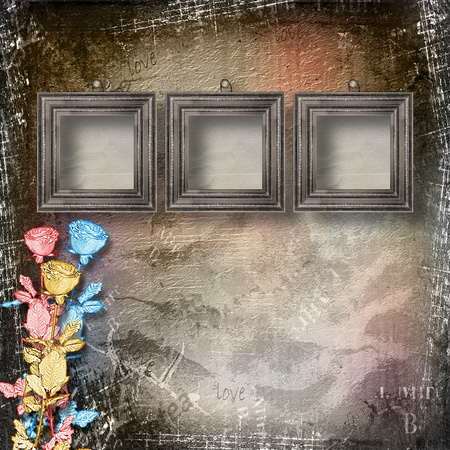 Old room, grunge  interior with frames and roses in style baroque photo