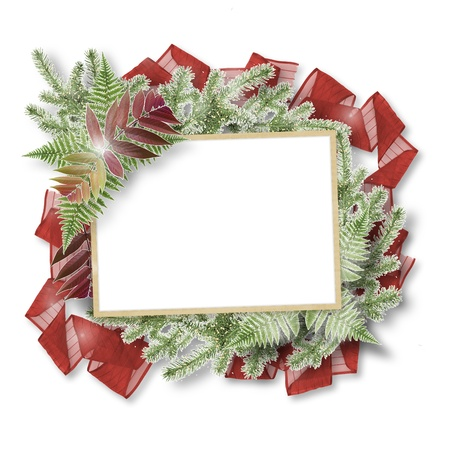 White isolated background with paper frame and bunch of twigs Christmas trees photo