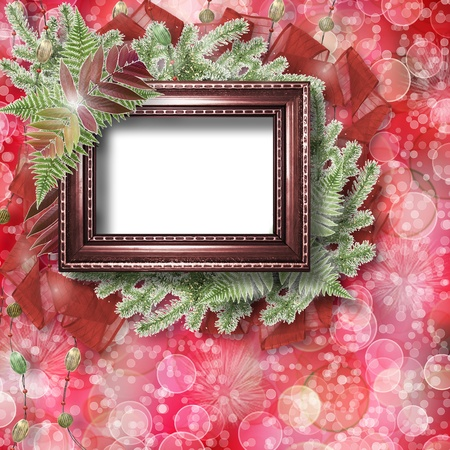 trumpery: Abstract star background with wooden frame and bunch of twigs Christmas trees