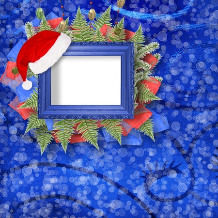 Abstract star background with wooden frame and bunch of twigs Christmas trees Stock Photo - 8403457