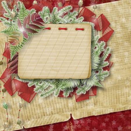 trumpery: Abstract star background with paper frame and bunch of twigs Christmas trees Stock Photo