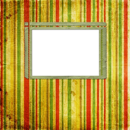 Old grunge slides on the ancient striped background photo