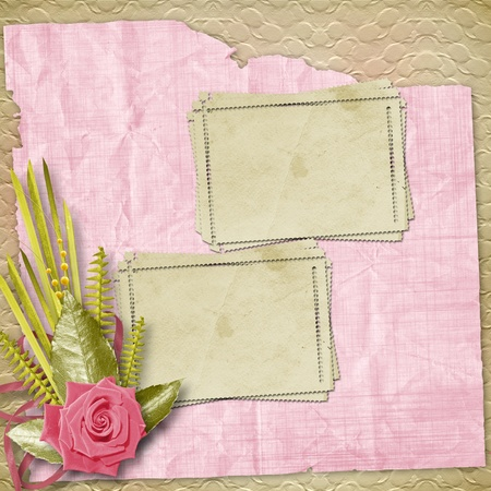 Card for congratulation or invitation with pink roses Stock Photo - 8530686