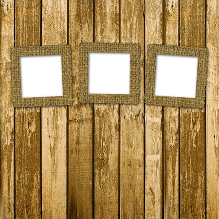 Old room, grunge industrial interior, worn  surface, wooden frames photo