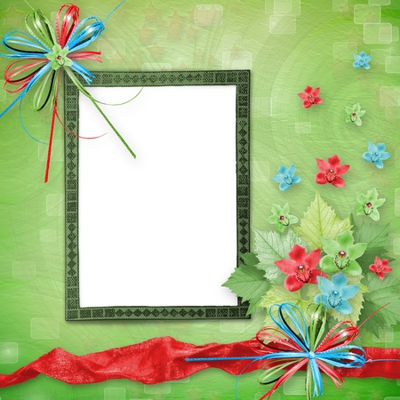 betrothal: card for invitation or congratulation with bunch of orchids