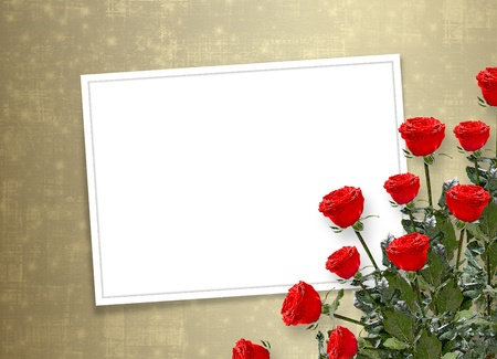 wedlock: Card for congratulation or invitation with red roses