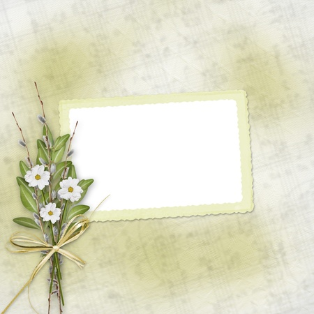 Card for invitation or congratulation with bunch of flowers and twigs Stock Photo - 8665276