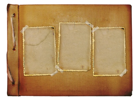 scrapbook homemade: Vintage photoalbum for photos on white isolated background