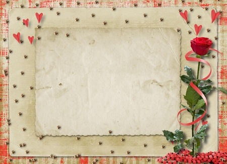paillette: Card for congratulation or invitation with red hearts and red rose